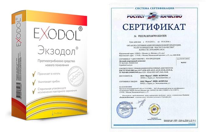 Препарат Экзодол (Exodol) от грибка сертификат