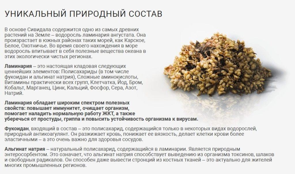 Лекарство Сивидал от токсинов состав