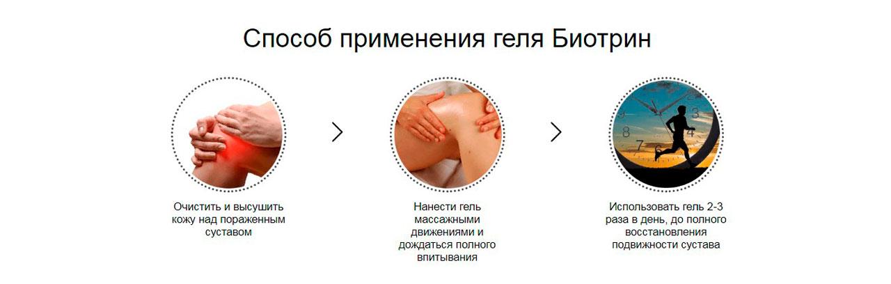Гель Биотрин для суставов как применять