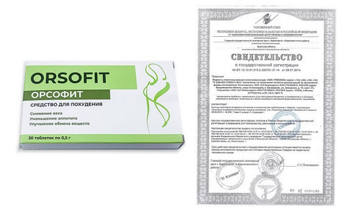 Орсофит (Orsofit) сертификат