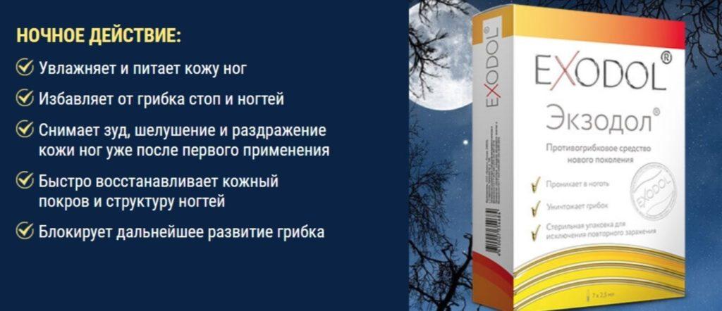 Препарат Экзодол (Exodol) от грибка ночь