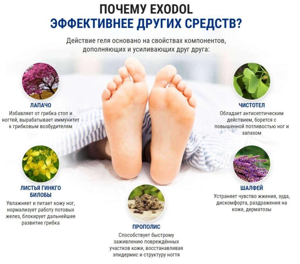 Препарат Экзодол (Exodol) от грибка состав