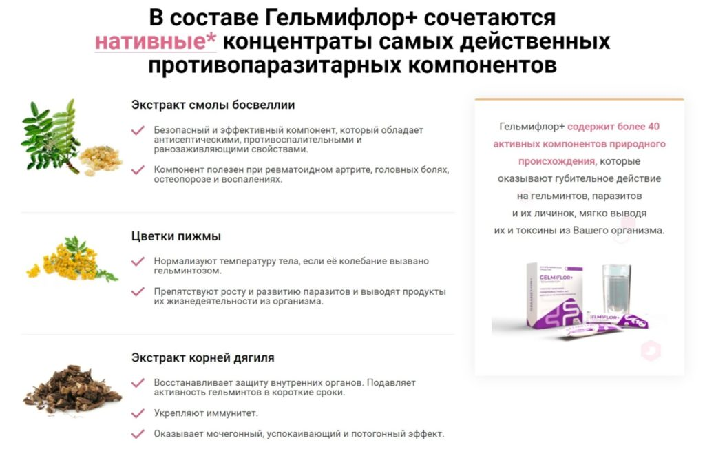 Препарат Гельмифлор Плюс от паразитов состав
