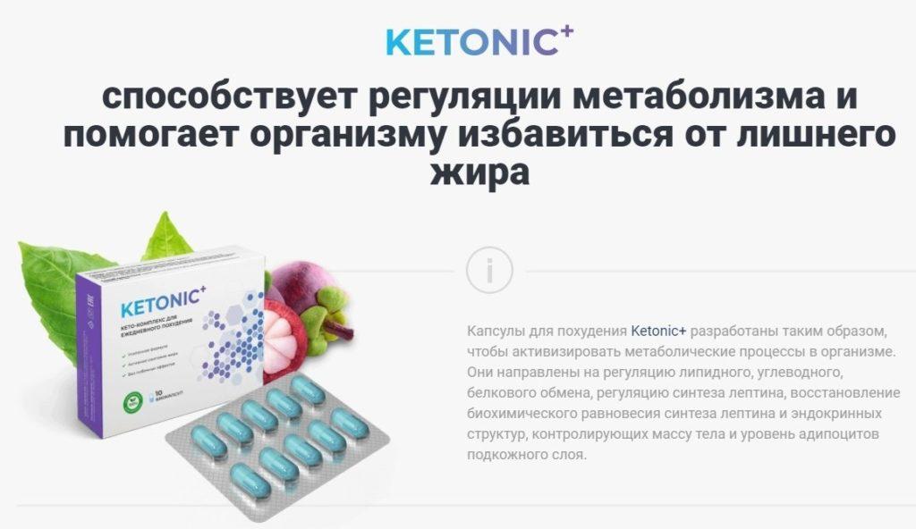 Таблетки Ketonic + (Кетоник +) для похудения как работает