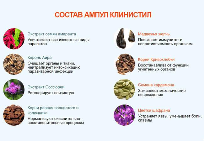 Лекарство Клинистил от паразитов состав