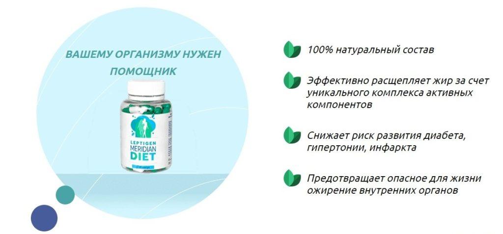 Leptigen Meridian Diet для похудения действие