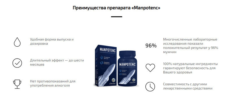 Капсулы Manpotenc (Мэнпотенц) для мужчин как действует