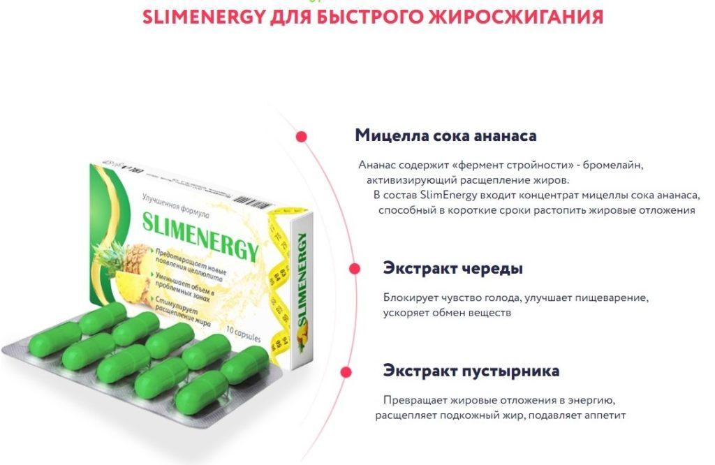 Капсулы SlimEnergy для похудения состав